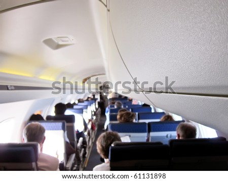 Airplane interior, kind of a background - stock photo