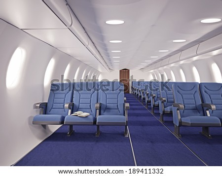 airplane interior seats with open book