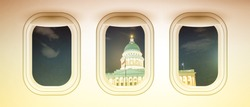 Airplane interior with window view of Salt Lake City Capitol, USA. Concept of travel and air transportation.