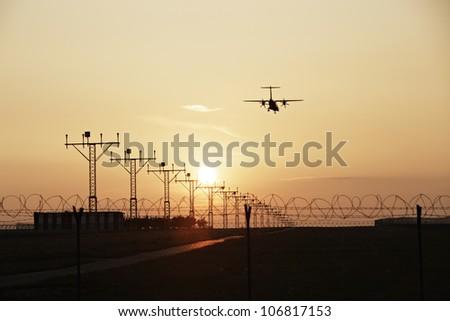 Airplane is landing on Prague Airport, Czech Republic
