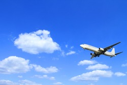 airplane, Jet aircraft flying to a background of blue sky