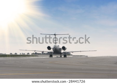 airplane landing at blue sky