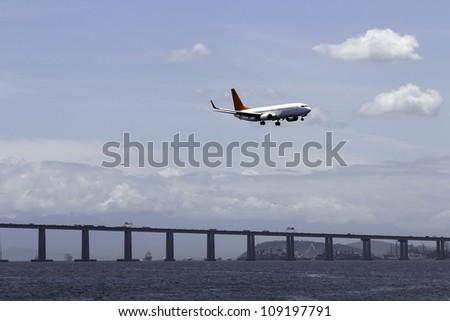 Airplane landing in Rio De Janeiro