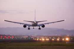 Airplane landing on the runway