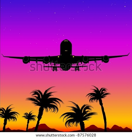 Airplane landing on tropical island