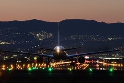 Airplane landing to the airport at dusk.