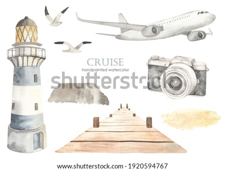 Airplane, lighthouse, pier, camera, seagulls. Watercolor set of sea cruise. Hand drawn clipart Foto d'archivio ©