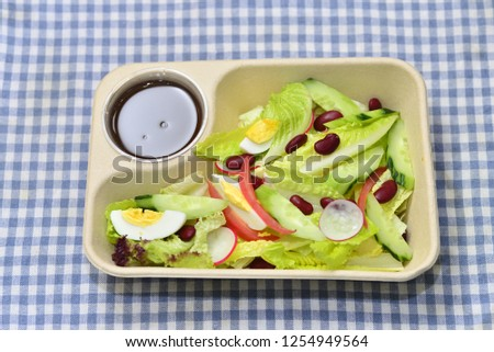 Airplane meal, light meal, salad set, diet meal, green salad #1254949564