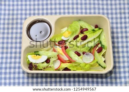 Airplane meal, light meal, salad set, diet meal, green salad #1254949567