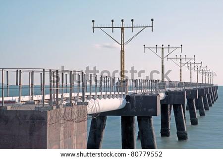 airplane navigational lights on the sea