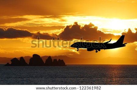 Airplane on a landing path