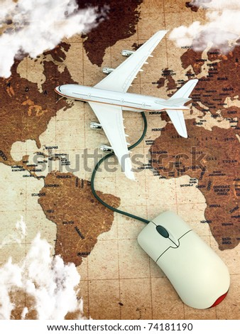 Airplane on world map connected to a computer mouse