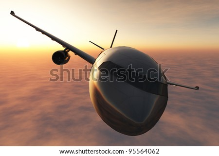 Airplane over Clouds in the Sunset 3D render