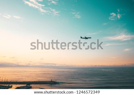 airplane over the sea