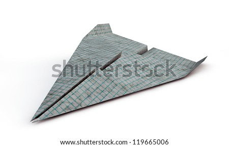 airplane paper isolated on white background
