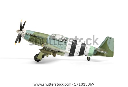 Airplane paper model isolated on white