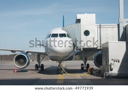 Airplane parked at an airport