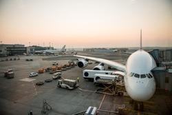 Airplane parking at gate in Frankfurt airport, Germany