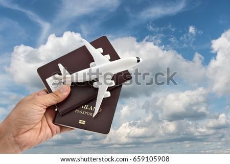 airplane passport flight travel traveller fly travelling citizenship air concept  - Shutterstock ID 659105908