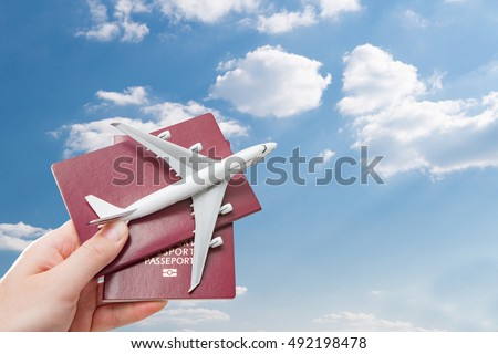 airplane passport flight travel traveller fly travelling citizenship air concept - stock image - Shutterstock ID 492198478