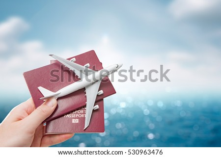 airplane passport flight travel traveller fly travelling citizenship air concept - stock image - Shutterstock ID 530963476