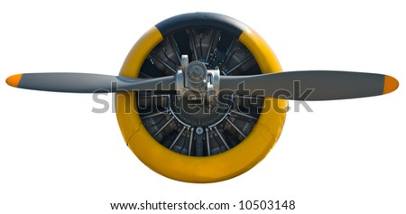 Airplane radial engine and propeller isolated on white