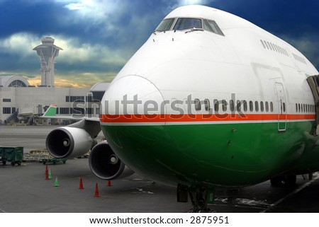 Airplane ready for departure - stock photo