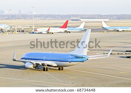 Airplane ready for take off from Schiphol airport in the Netherlands