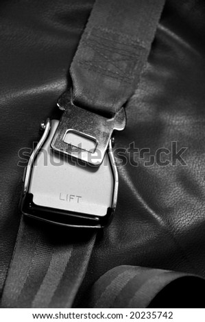 airplane seat belt black&white