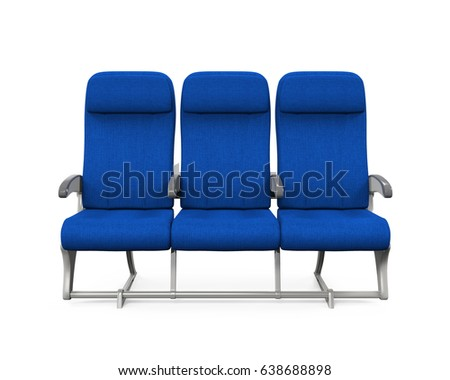 Airplane Seats Isolated. 3D rendering