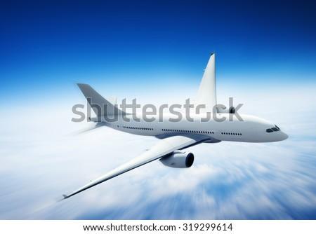 Airplane Skyline Horizon Flight Cloud Concept