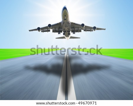 Airplane take off in runway - stock photo