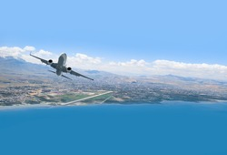 Airplane taking off from the airport - Travel by air transport