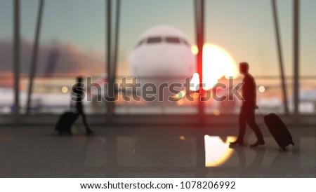 Airplane Terminal Departure Video Clip Footage HD