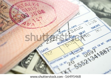 airplane ticket and passport on american dollars