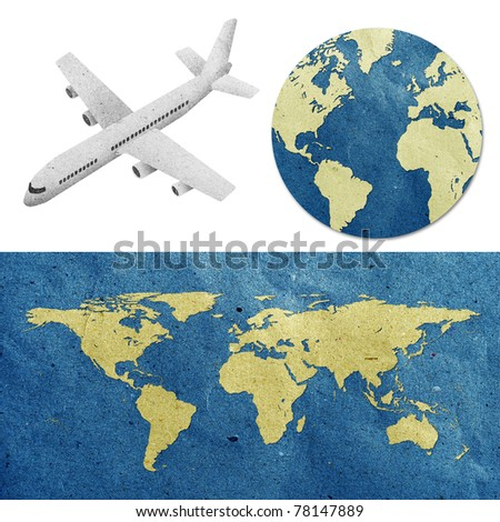 airplane travel around the globe recycled paper craft : Data source: NASA