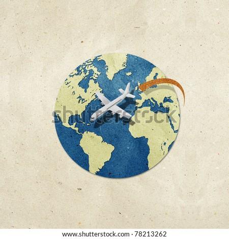 airplane travel around the globe recycled paper craft : Data source: NASA