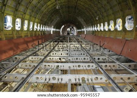 Airplane under heavy maintenance.