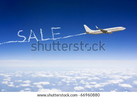 airplane who's exhaust pipes form the word sale as a cloud