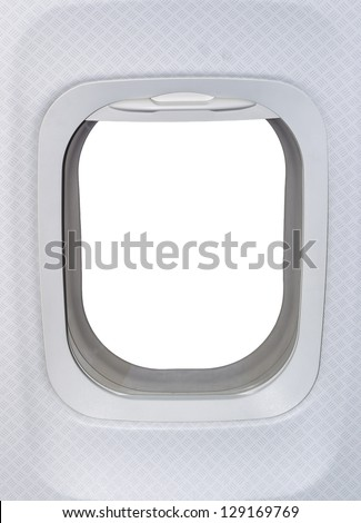 Airplane window. View has been removed and replaced with white