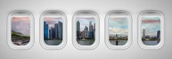 Airplane windows with Singapore skyline view. Travel and holiday abstract concept.