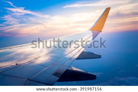 Airplane wing with sunrise in light flare #391987156
