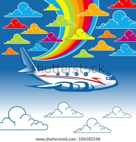 airplane with colorful clouds and rainbow