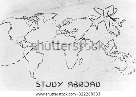 airplane with graduation hat flying above world map, study abroad