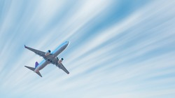 Airplane with motion blur effect - Landscape with passenger airplane is flying. Aircraft with blurred background