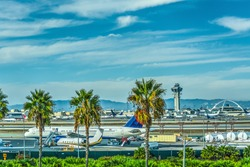 Airplanes in Los Angeles International airport apron. California, USA