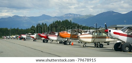 Airplanes Parked on the Tarmac Bush Planes Ready to Fly Alaska Outback