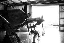 Airplanes waiting in a hangar