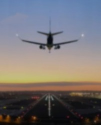 Airport abstract defocused blurred background, Travel theme concept.