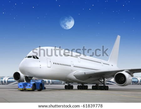 airport and plane in the bright of the moon